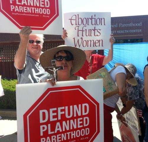 "Buzz and Nina at Women Betrayed Rally, Planned Parenthood on ""B"" Street, Sacramento. 07/28/2015."