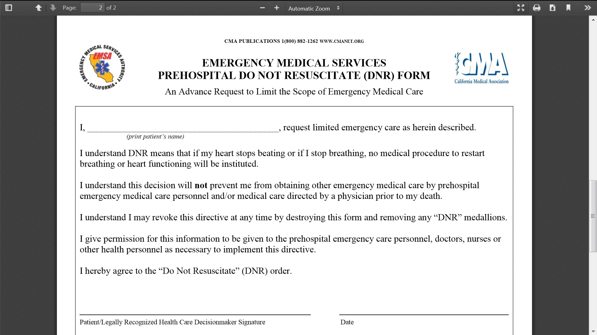 Bad DNR and POLST Laws – Do Not Resuscitate Form